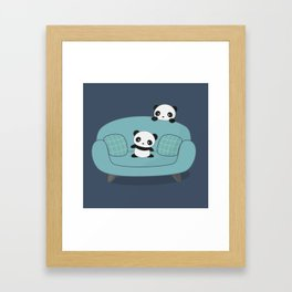 Kawaii Cute Pandas Framed Art Print
