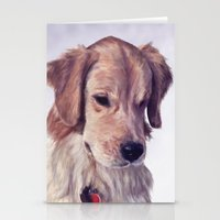 golden retriever Stationery Cards featuring Golden Retriever by Heather Amber