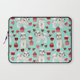 Shih Tzu valentines day pattern for dog lover with cute shih tzu puppy love by pet friendly Laptop Sleeve