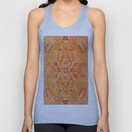 Orange Boho Oriental Vintage Traditional Moroccan Carpet style Design Unisex Tank Top