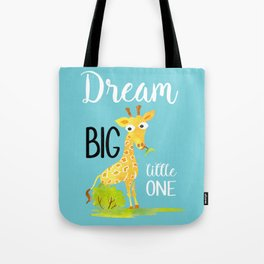 Dream Big Little One Watercolor Giraffe Nursery Quote Tote Bag