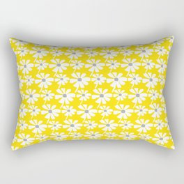 Daisies In The Summer Breeze - Yellow White Grey Rectangular Pillow