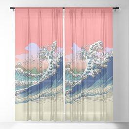 Fuji at Sea of Pugs Sheer Curtain