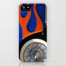 Chrome hubcaps, orange flames iPhone Case