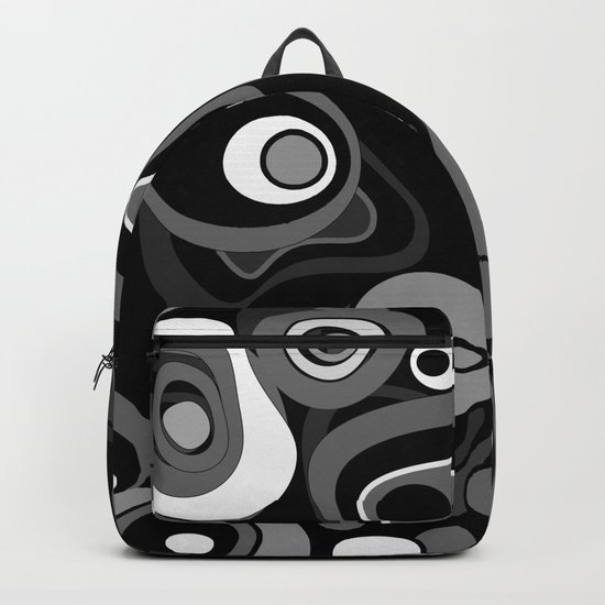 Abstract black and white polka dot pattern . Backpack
