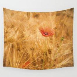 Fiery poppy in a golden cornfield - Poppies Flower Flowers Wall Tapestry