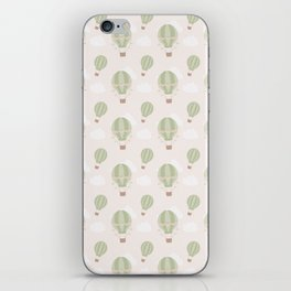 Vintage green ivory hot air balloons clouds pattern iPhone Skin