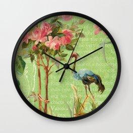 Flower Flamingo Wall Clock