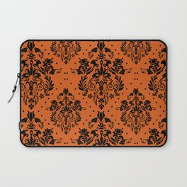 Vintage black orange halloween floral damask Laptop Sleeve