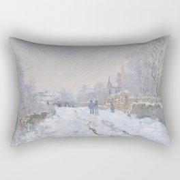 Snow Scene at Argenteuil Rectangular Pillow