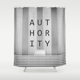 AUTHORITY / 3D render of speaker podium with microphones in front of building with grand edifice Shower Curtain