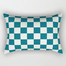 Off White and Tropical Dark Teal Inspired by Sherwin Williams 2020 Trending Color Oceanside SW6496 Large Checker Board Pattern Rectangular Pillow