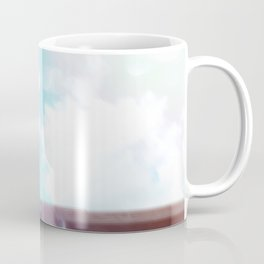 cloudy blue sky and electric pole and wood wall in the city Coffee Mug