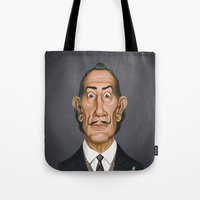 celebrity Tote Bags featuring Celebrity Sunday ~ Salvador Dali by rob art | illustration