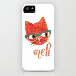 Hipster Cat in Glasses - Meh - Illustration iPhone Case