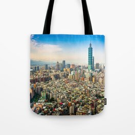 Aerial view and cityscape of Taipei, Taiwan Tote Bag