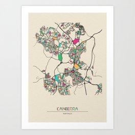 Colorful City Maps: Canberra, Australia Art Print
