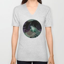 """""""The Girl and the Moon Burlap Texture"""" Unisex V-Neck"""
