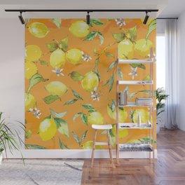 Watercolor lemons 4 Wall Mural