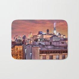Manhattan Rooftops at Night Bath Mat