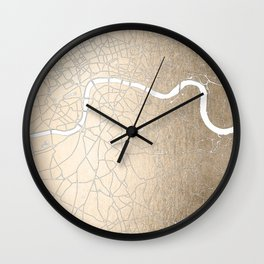 Gold on White London Street Map II Wall Clock