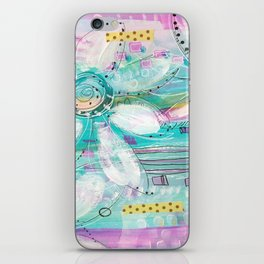 mixed media flowers iPhone Skin