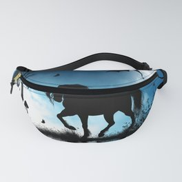 Beautiful unicorn with flying dragon in the sky Fanny Pack