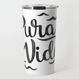 Pura Vida Costa Rica Waves in Black Travel Mug