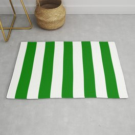 Green (HTML/CSS color) - solid color - white vertical lines pattern Rug