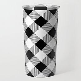 Black and White Buffalo Plaid Travel Mug