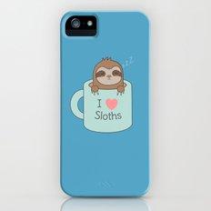 Kawaii Cute Coffee Sloth iPhone SE Slim Case