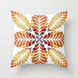 Orange gold feather flourish Throw Pillow