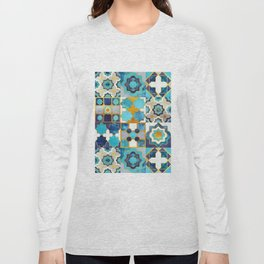 Spanish moroccan tiles inspiration // turquoise blue golden lines Long Sleeve T-shirt