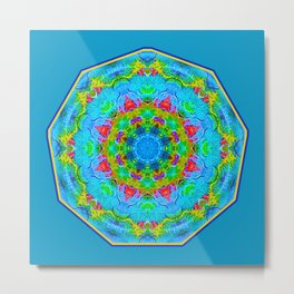 Red Flower Blue Mandala Metal Print