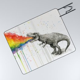 T-Rex Rainbow Puke Picnic Blanket
