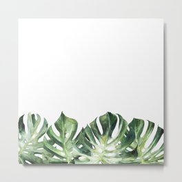 Monstera watercolor leaves Metal Print