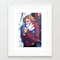 enjolras Framed Art Prints featuring Winter Enjolras by rdjpwns