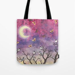 chickadees and io moths in the moonlit sky Tote Bag