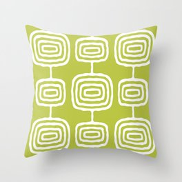 Mid Century Modern Atomic Rings Pattern 771 Green Throw Pillow