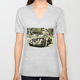 Woman with a vintage car Unisex V-Neck