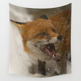 Wild Red Fox In The Snow Wall Tapestry