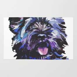 Fun Black Cairn Terrier bright colorful Pop Art Dog Portrait by LEA Rug