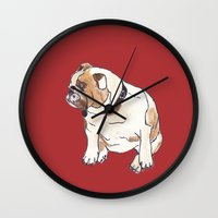 english bulldog Wall Clocks featuring English Bulldog by Tammy Kushnir