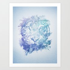 Abstract Watercolor Tiger Portrait / Face Art Print