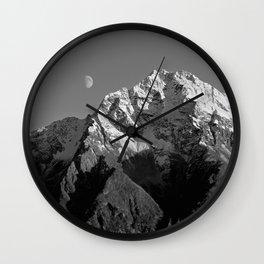 Moon Over Pioneer Peak B&W Wall Clock