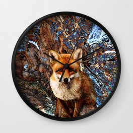 Fox In The Thicket II Wall Clock