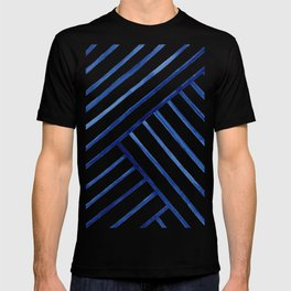 Watercolor lines pattern   Navy blue T-shirt
