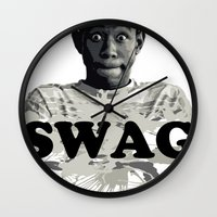 tyler the creator Wall Clocks featuring Tyler The Creator SWAG by Misadventures