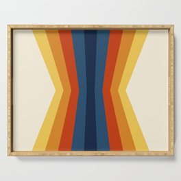 Bright 70's Retro Stripes Reflection Serving Tray