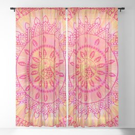 Mandala Orange Pink Spiritual Zen Hippie Bohemian Yoga Mantra Meditation Sheer Curtain